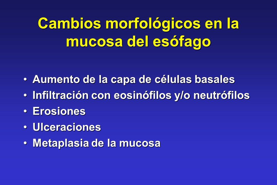 Cambios morfológicos en la mucosa del esófago