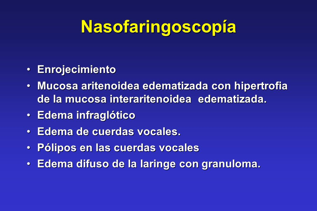 Nasofaringoscopía Enrojecimiento