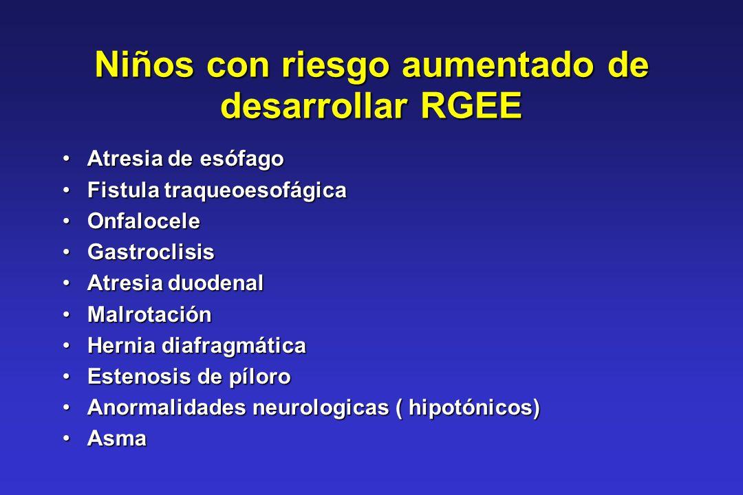 Niños con riesgo aumentado de desarrollar RGEE