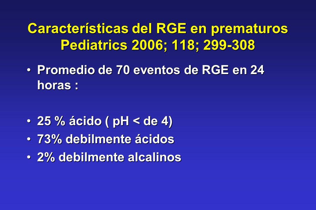 Características del RGE en prematuros Pediatrics 2006; 118; 299-308