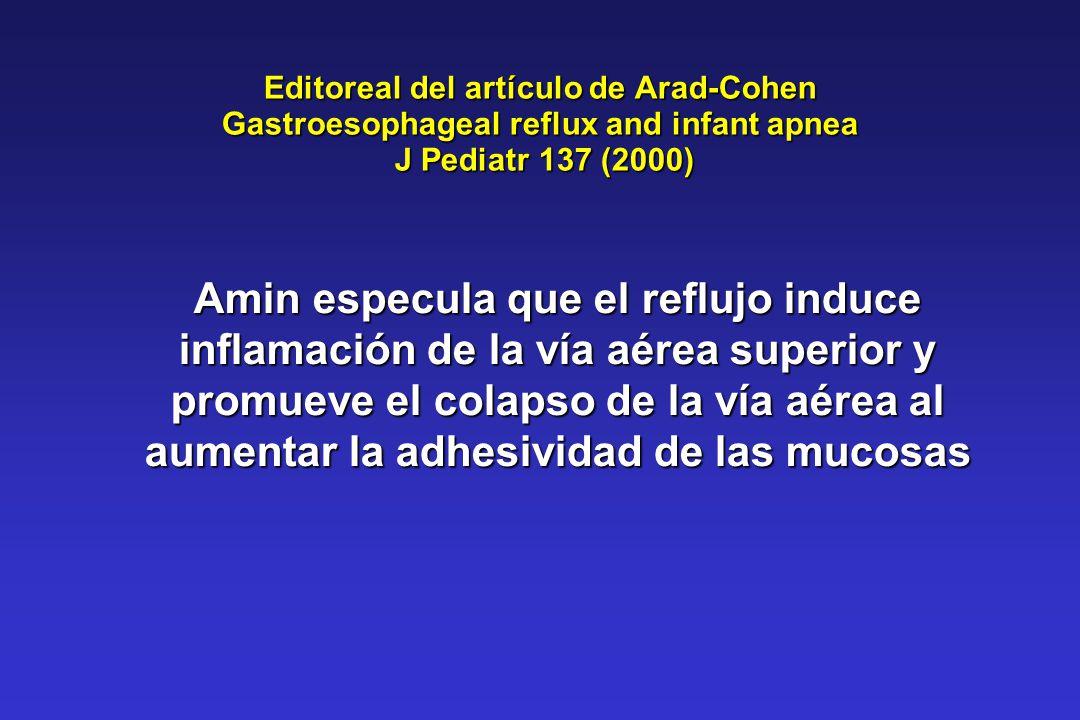 Editoreal del artículo de Arad-Cohen Gastroesophageal reflux and infant apnea J Pediatr 137 (2000)