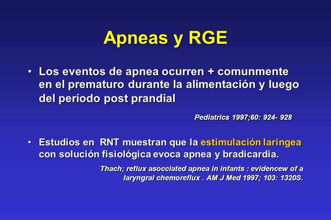 Apneas y RGE Pediatrics 1997;60: 924- 928