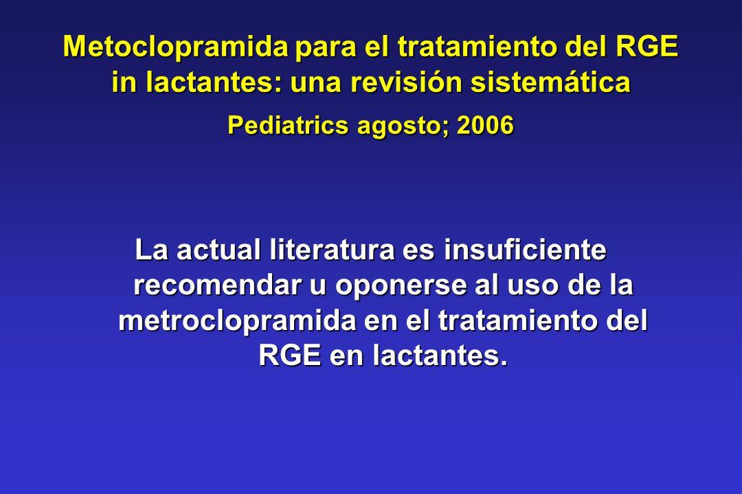 Metoclopramida para el tratamiento del RGE in lactantes: una revisión sistemática Pediatrics agosto; 2006