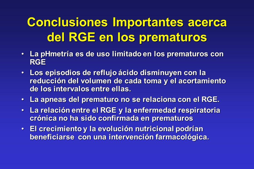 Conclusiones Importantes acerca del RGE en los prematuros