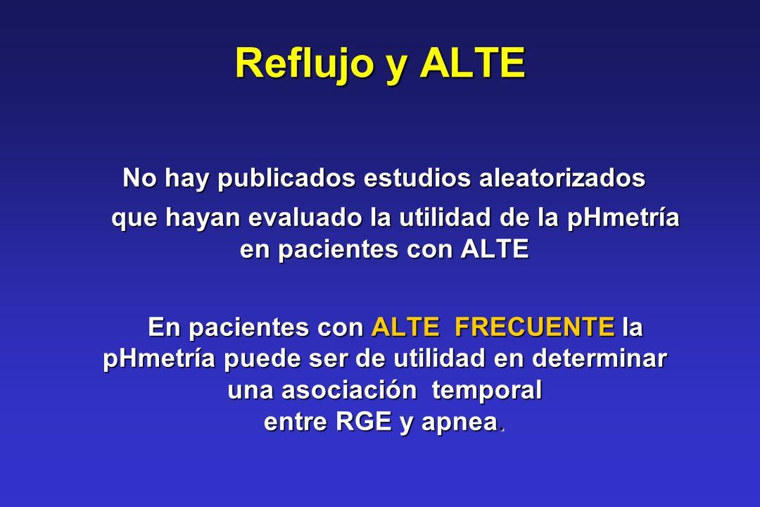 Reflujo y ALTE No hay publicados estudios aleatorizados