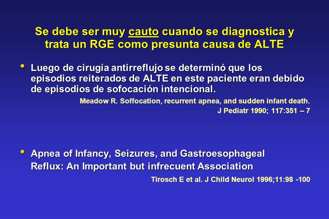Se debe ser muy cauto cuando se diagnostica y trata un RGE como presunta causa de ALTE