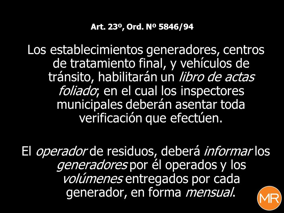 Art. 23º, Ord. Nº 5846/94