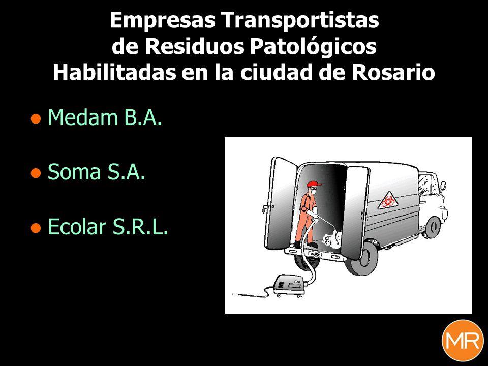 Empresas Transportistas de Residuos Patológicos Habilitadas en la ciudad de Rosario