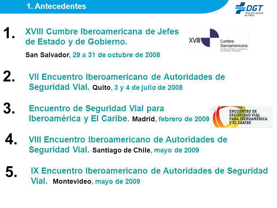 1. Antecedentes 1. XVIII Cumbre Iberoamericana de Jefes de Estado y de Gobierno. San Salvador, 29 a 31 de octubre de 2008.