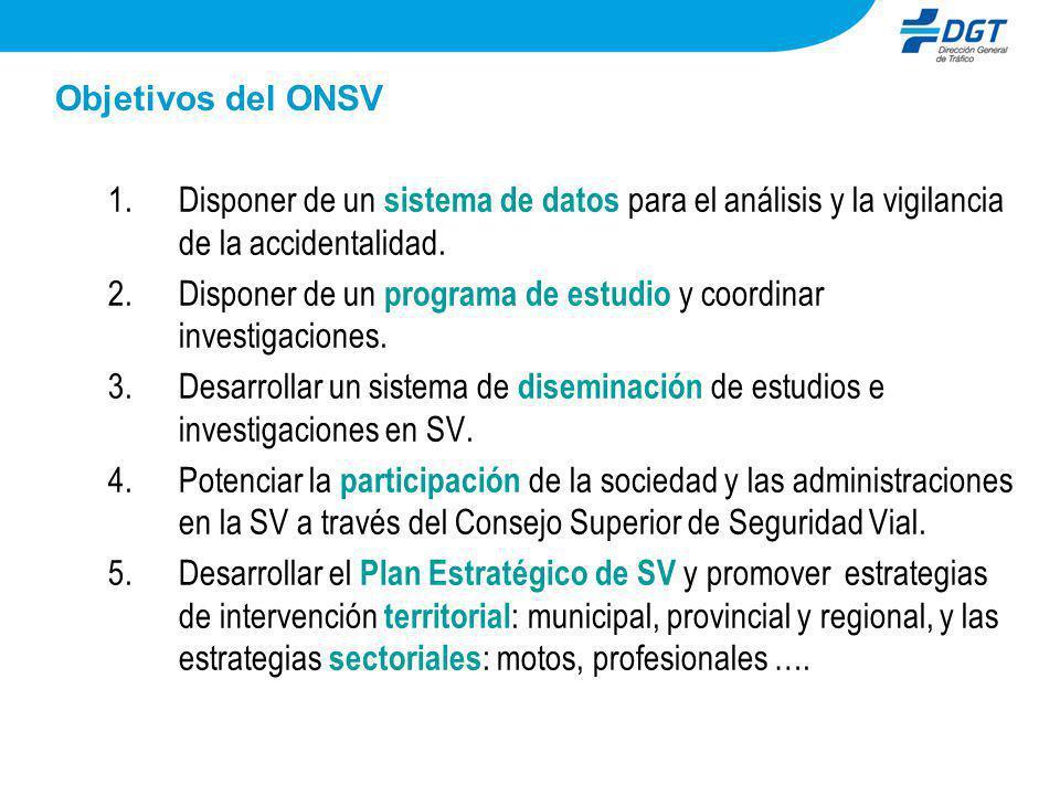Objetivos del ONSV Disponer de un sistema de datos para el análisis y la vigilancia de la accidentalidad.