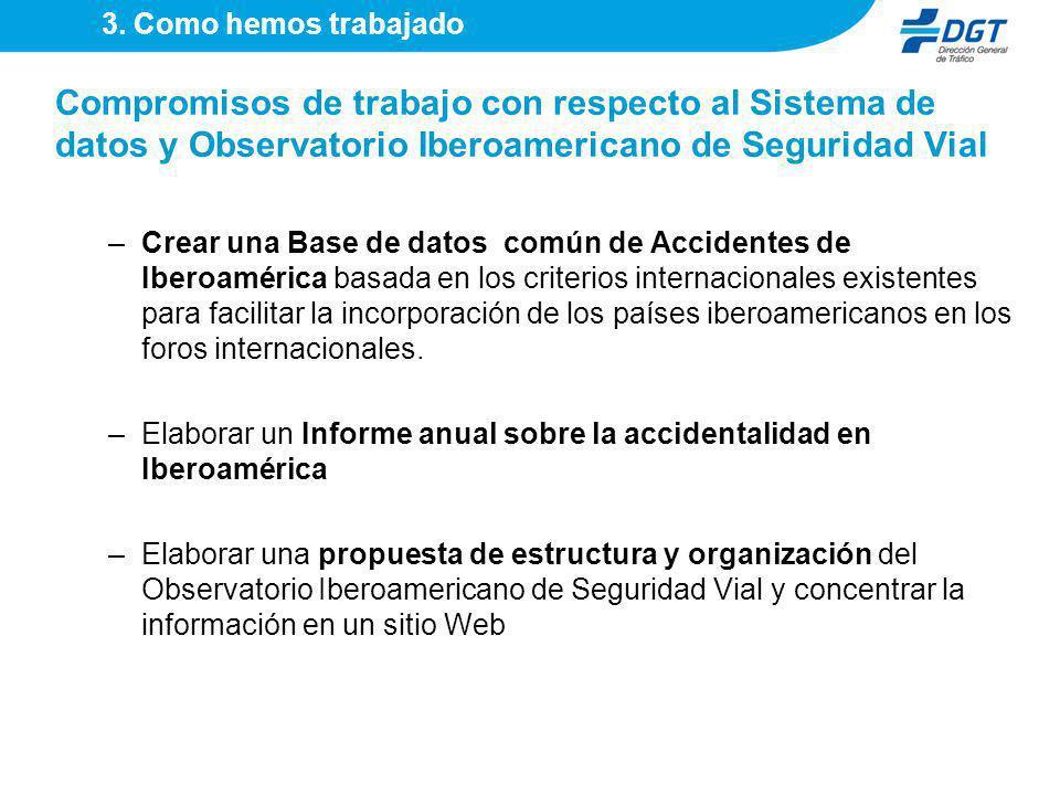 3. Como hemos trabajado Compromisos de trabajo con respecto al Sistema de datos y Observatorio Iberoamericano de Seguridad Vial.