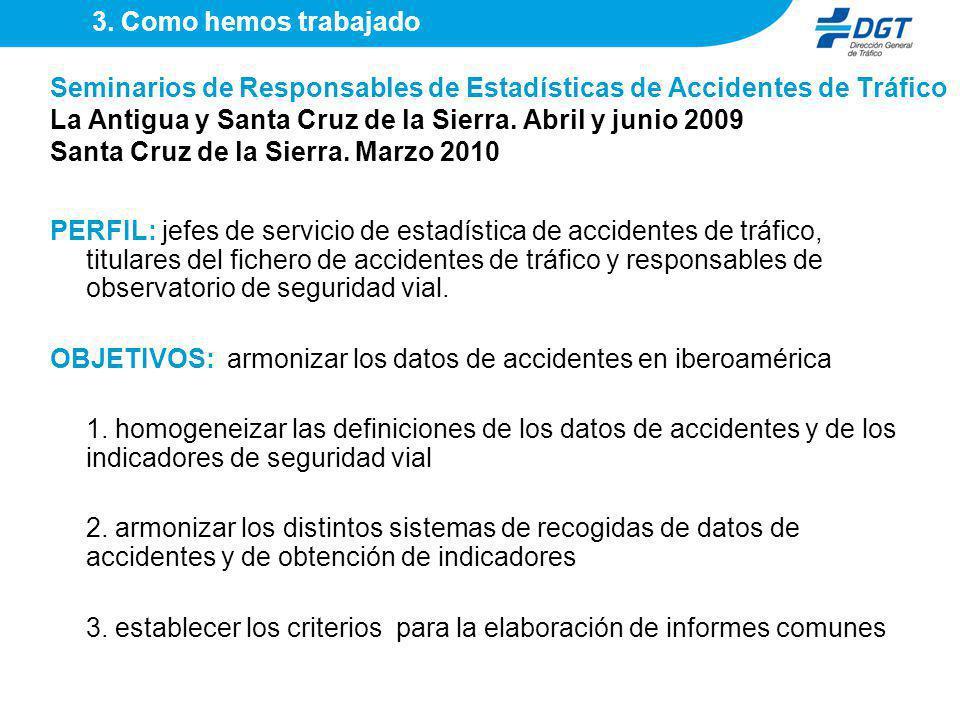 OBJETIVOS: armonizar los datos de accidentes en iberoamérica