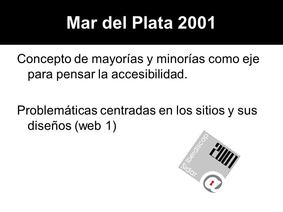 Mar del Plata 2001 Concepto de mayorías y minorías como eje para pensar la accesibilidad.
