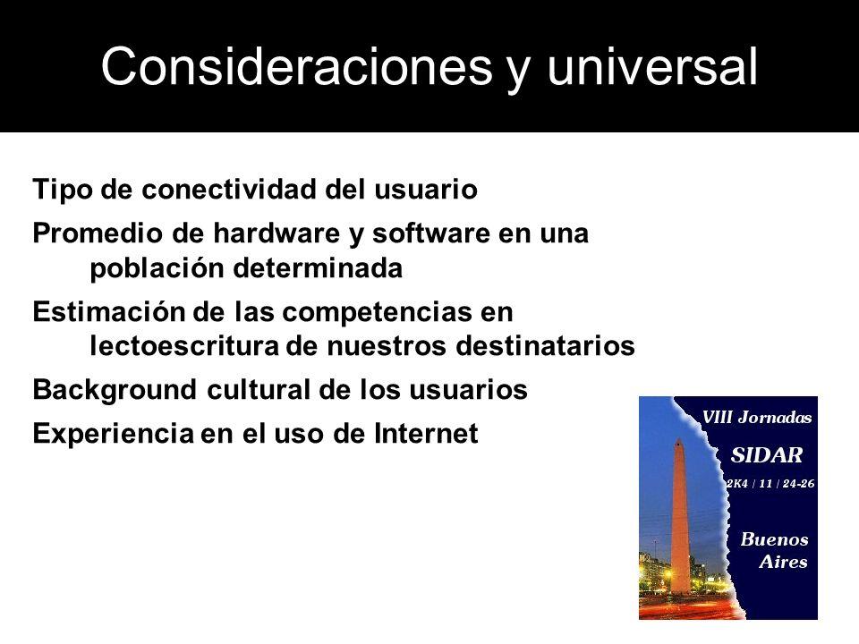 Consideraciones y universal