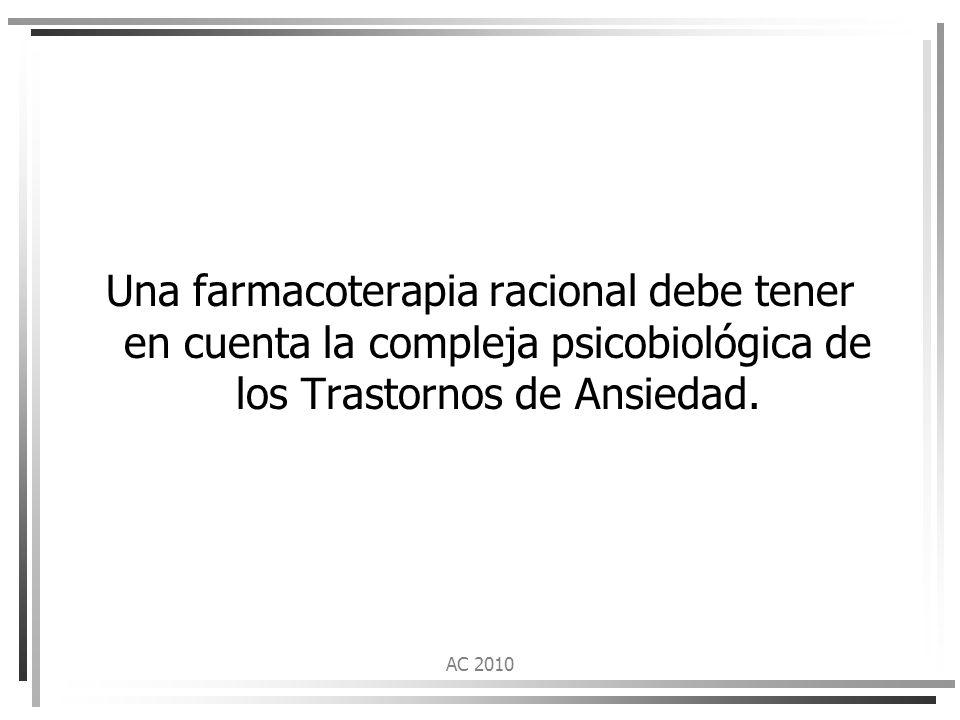 Una farmacoterapia racional debe tener en cuenta la compleja psicobiológica de los Trastornos de Ansiedad.