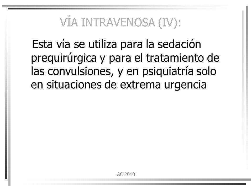 VÍA INTRAVENOSA (IV):