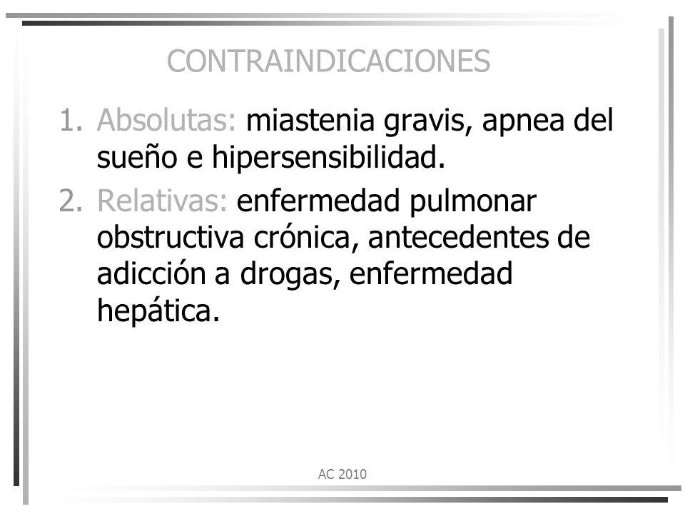 Absolutas: miastenia gravis, apnea del sueño e hipersensibilidad.