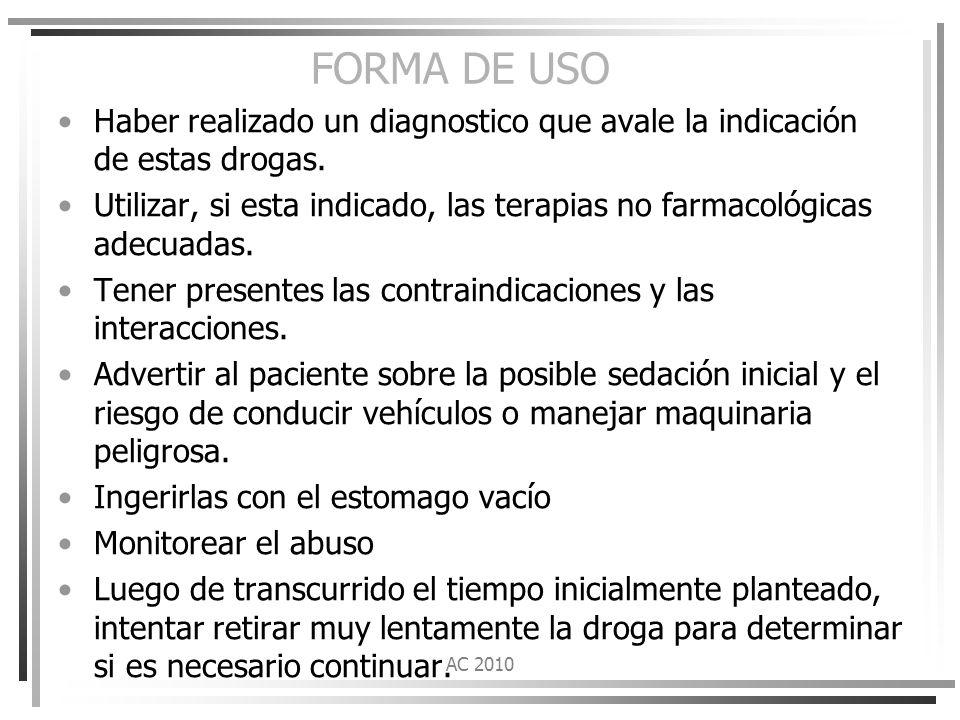 FORMA DE USO Haber realizado un diagnostico que avale la indicación de estas drogas.