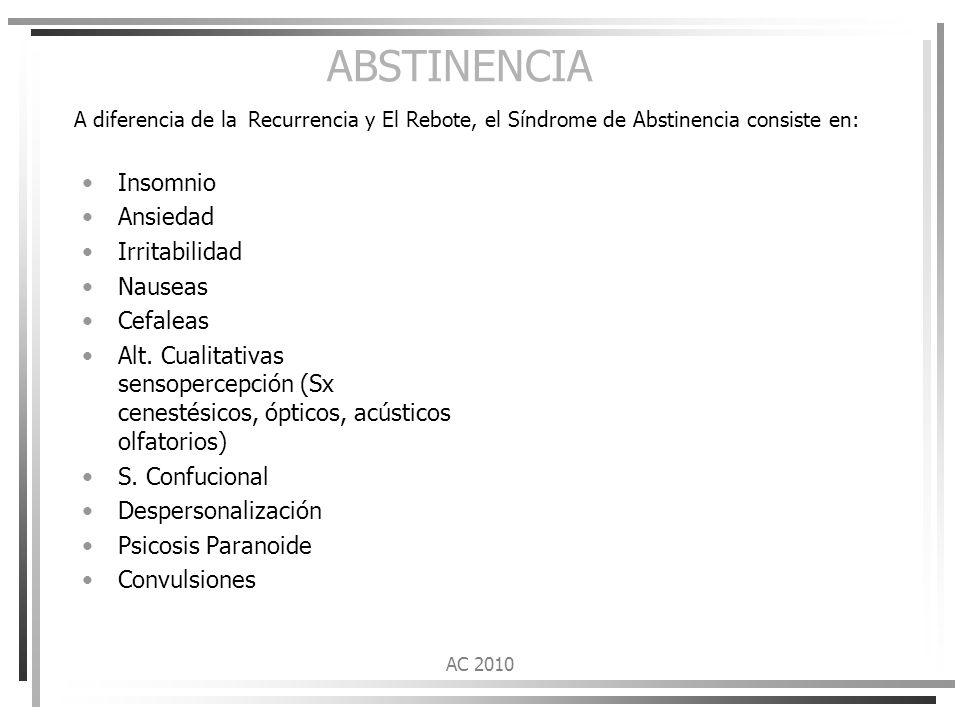 ABSTINENCIA A diferencia de la Recurrencia y El Rebote, el Síndrome de Abstinencia consiste en: