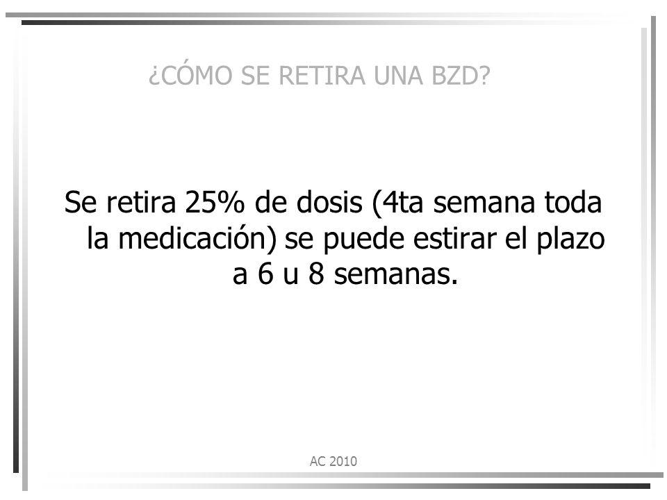 ¿CÓMO SE RETIRA UNA BZD Se retira 25% de dosis (4ta semana toda la medicación) se puede estirar el plazo a 6 u 8 semanas.