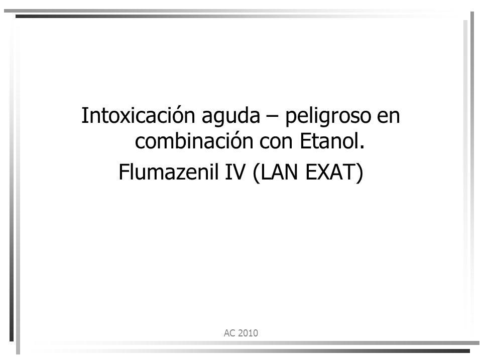 Intoxicación aguda – peligroso en combinación con Etanol.