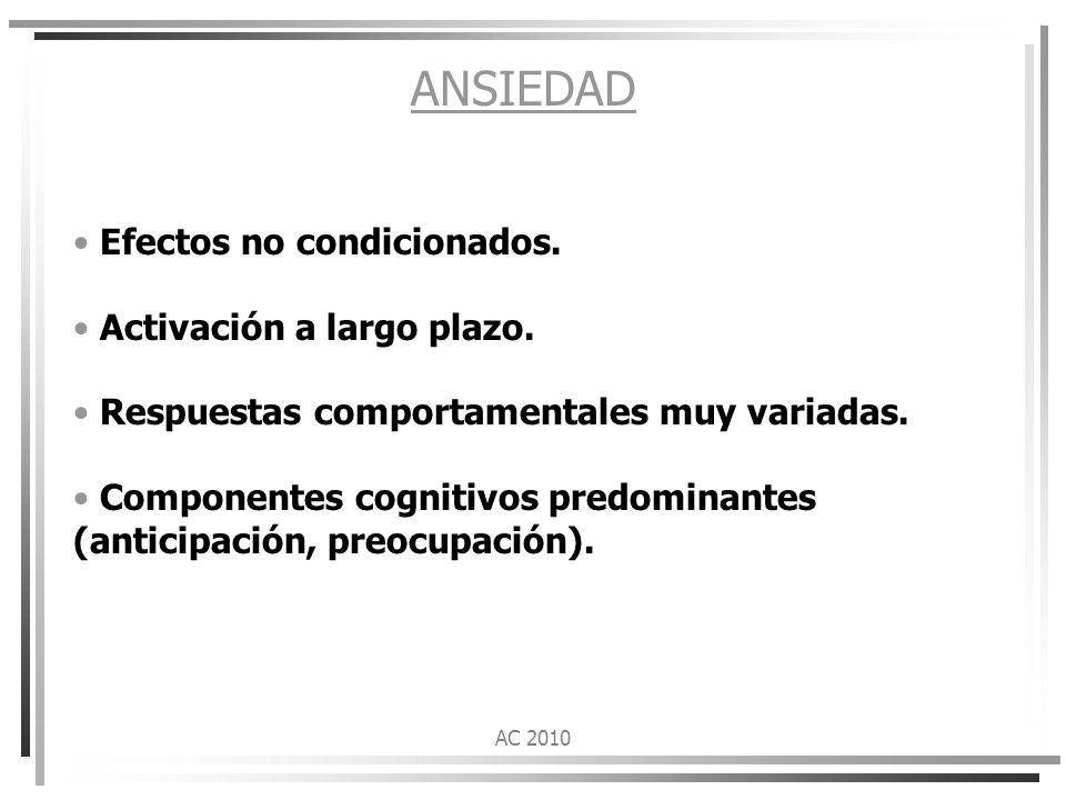 ANSIEDAD Efectos no condicionados. Activación a largo plazo.