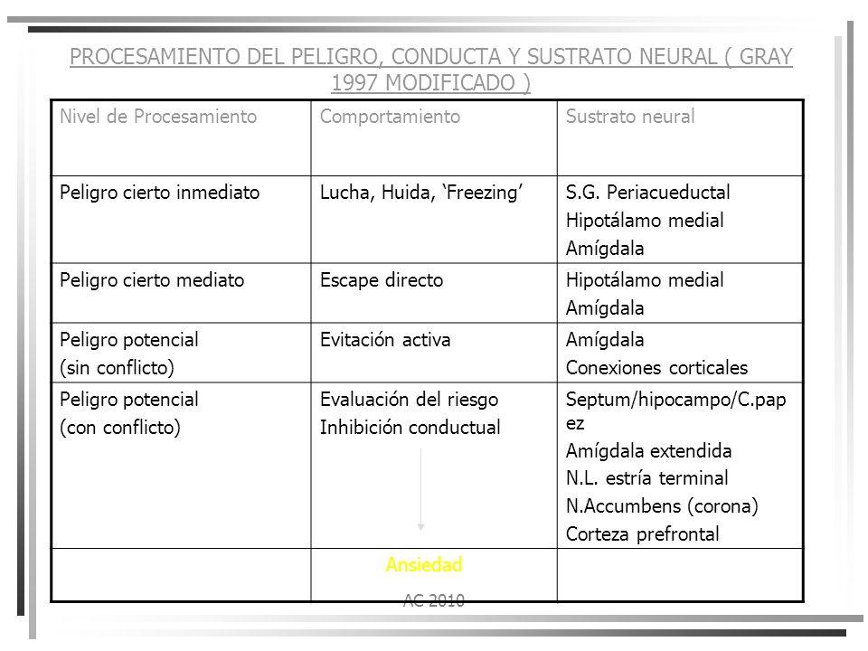 PROCESAMIENTO DEL PELIGRO, CONDUCTA Y SUSTRATO NEURAL ( GRAY 1997 MODIFICADO )