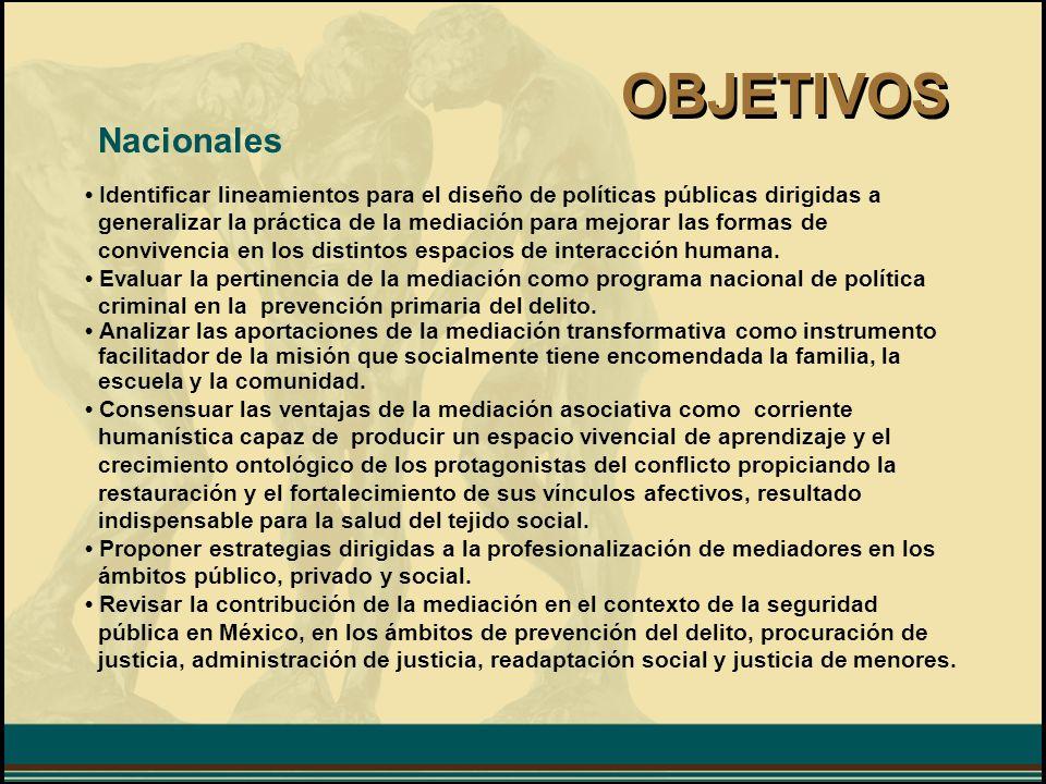 OBJETIVOS Nacionales. • Identificar lineamientos para el diseño de políticas públicas dirigidas a.