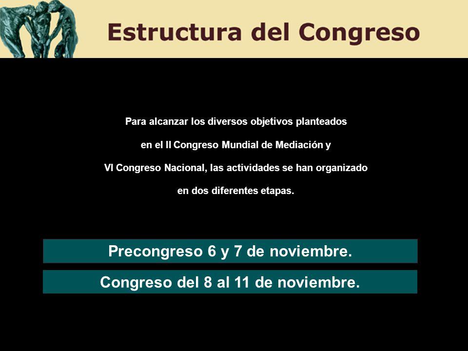 Precongreso 6 y 7 de noviembre. Congreso del 8 al 11 de noviembre.