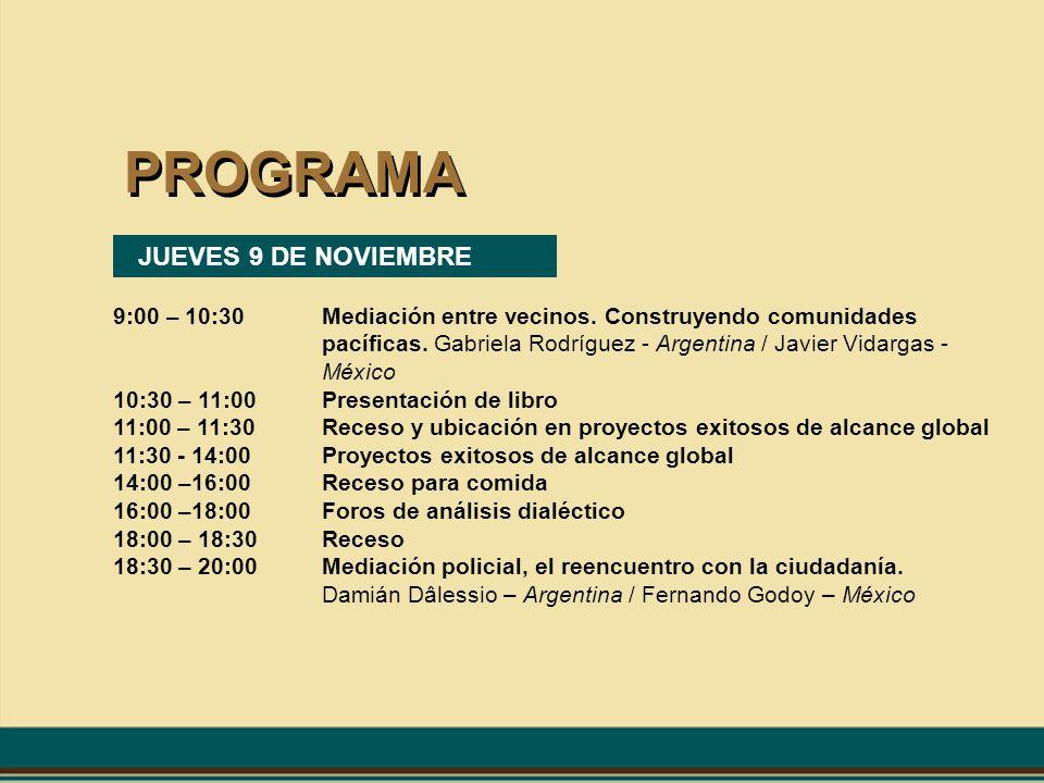 PROGRAMA JUEVES 9 DE NOVIEMBRE