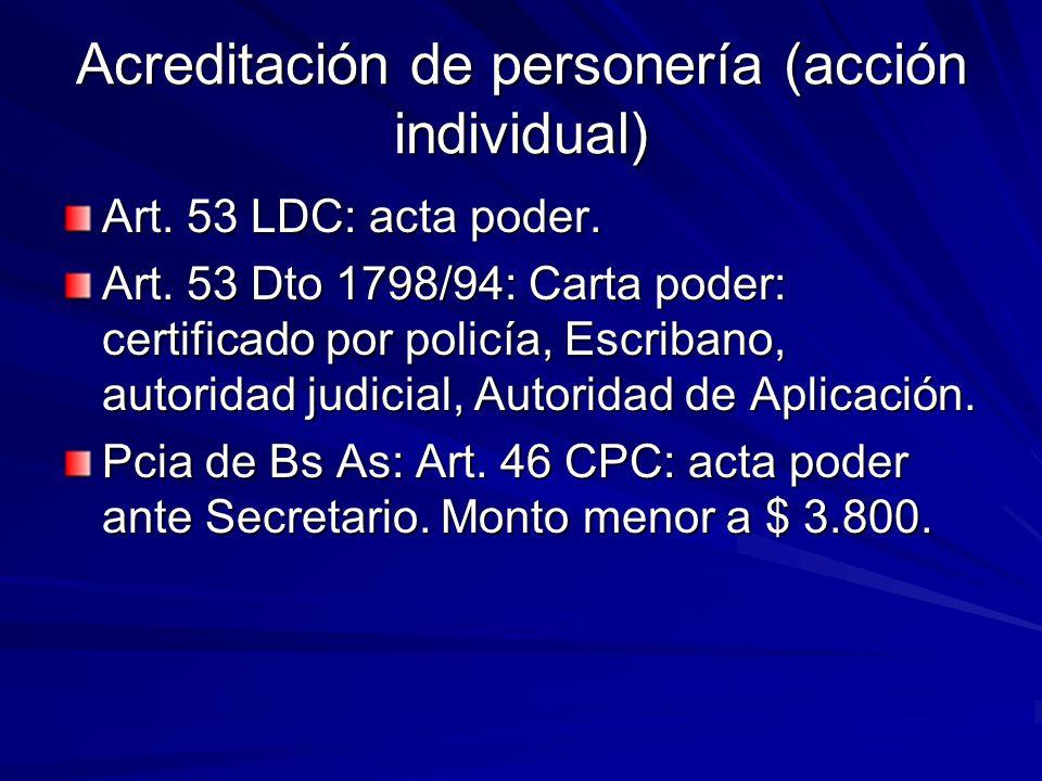 Acreditación de personería (acción individual)