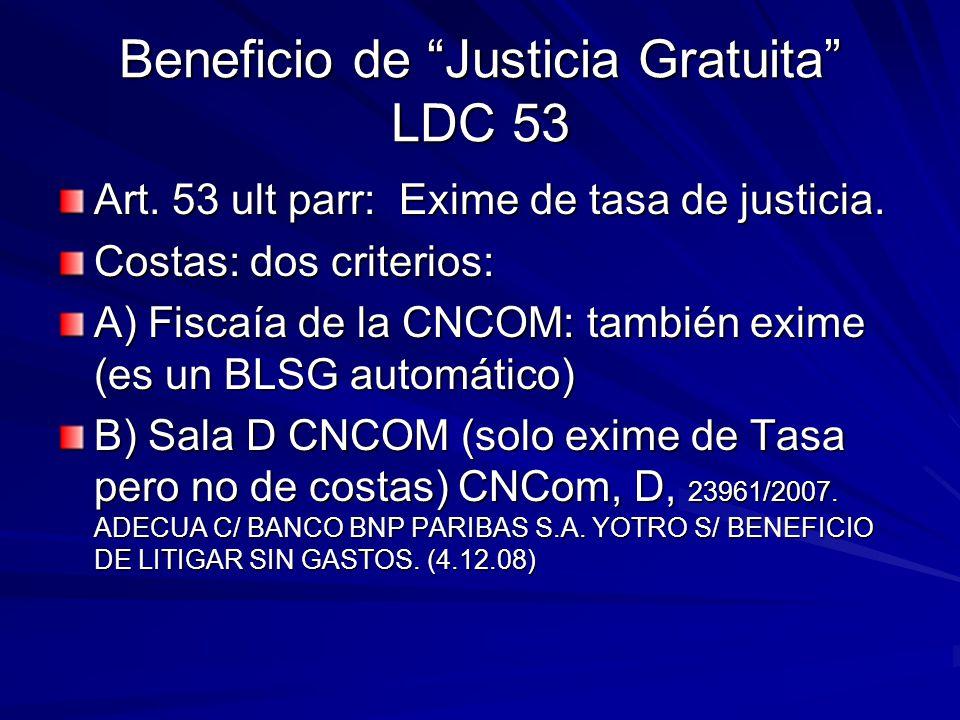 Beneficio de Justicia Gratuita LDC 53