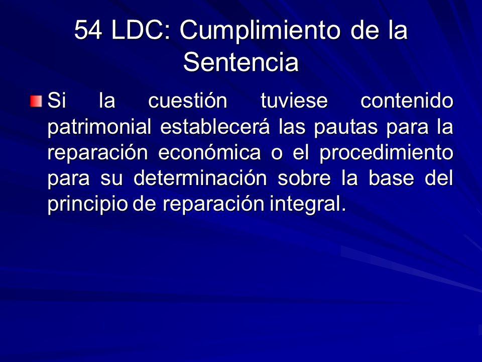 54 LDC: Cumplimiento de la Sentencia