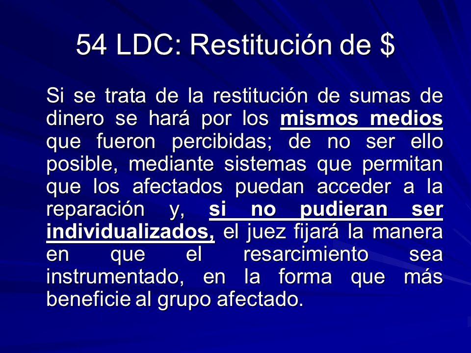 54 LDC: Restitución de $