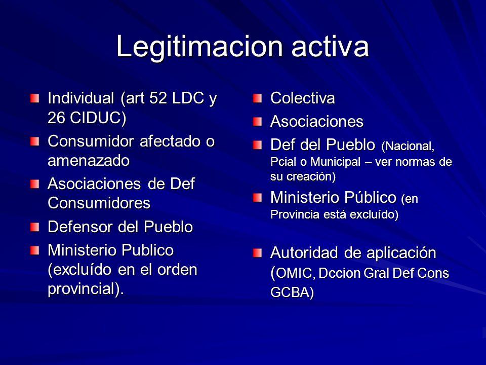 Legitimacion activa Individual (art 52 LDC y 26 CIDUC)