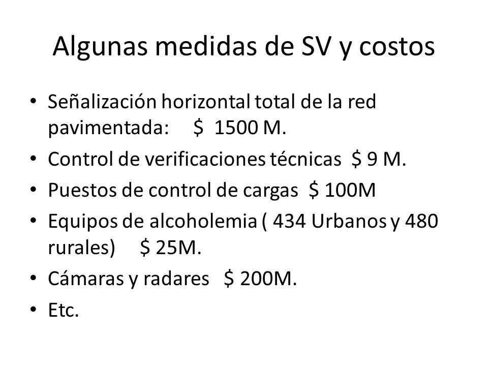 Algunas medidas de SV y costos