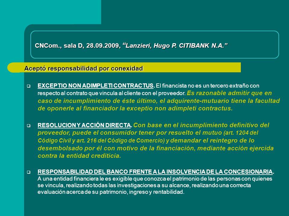 CNCom., sala D, 28.09.2009, Lanzieri, Hugo P. CITIBANK N.A.