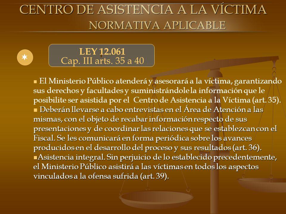 CENTRO DE ASISTENCIA A LA VÍCTIMA NORMATIVA APLICABLE