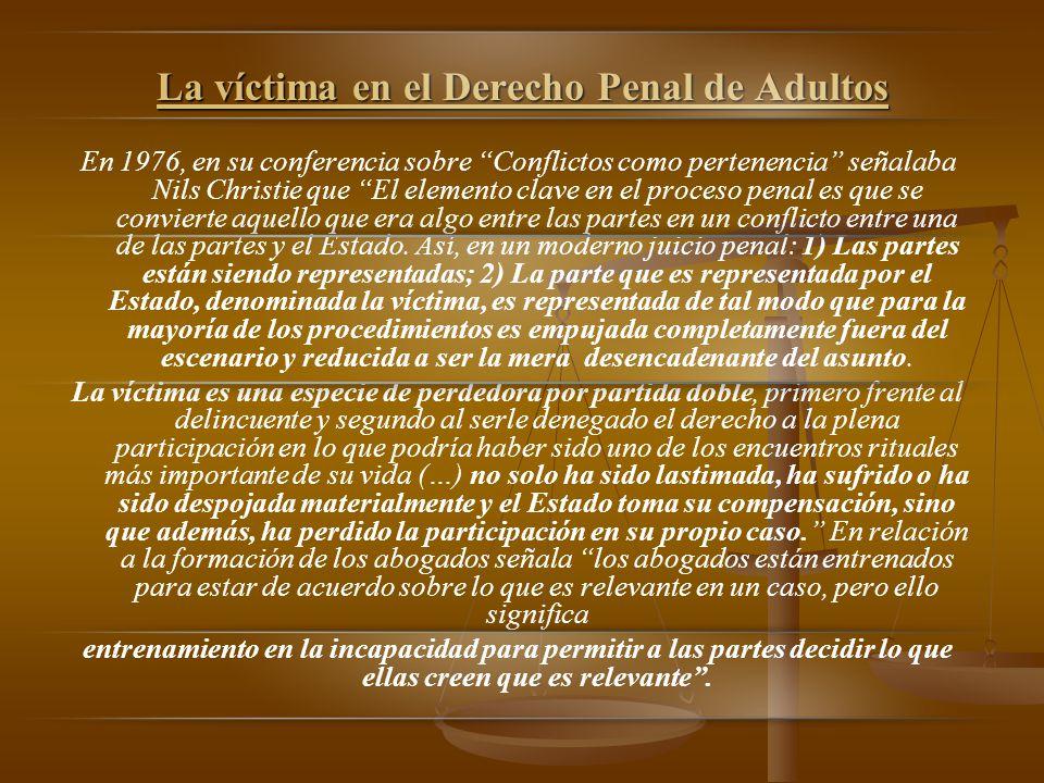 La víctima en el Derecho Penal de Adultos