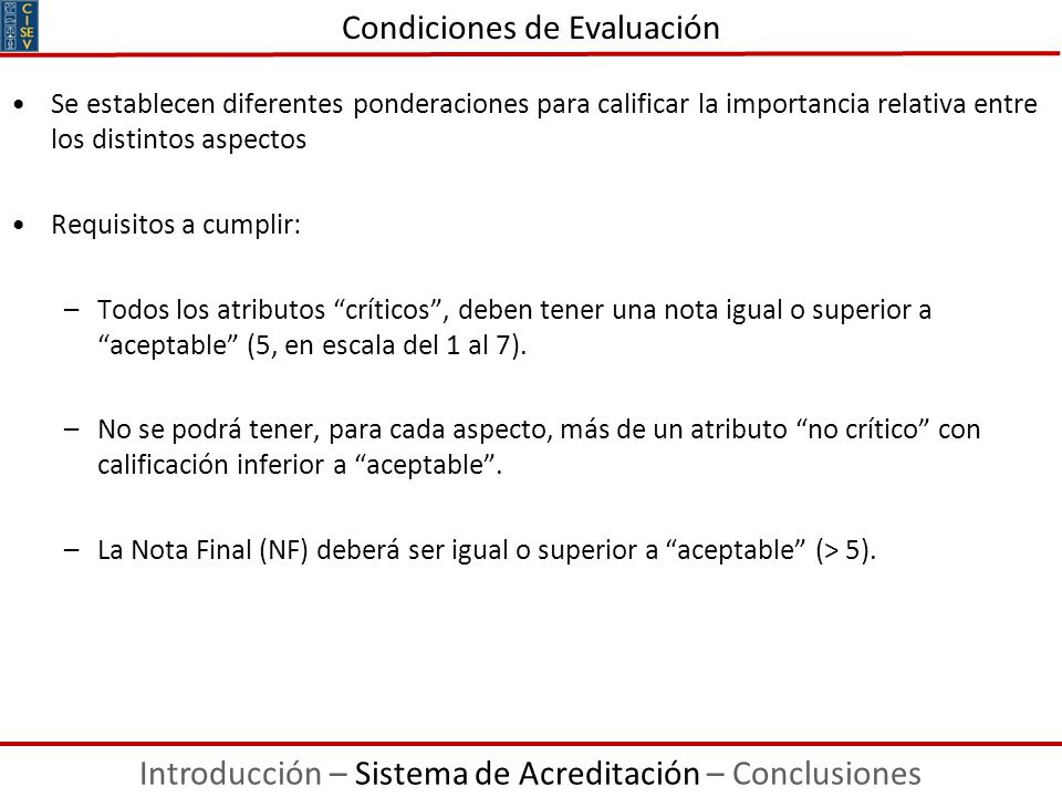 Condiciones de Evaluación