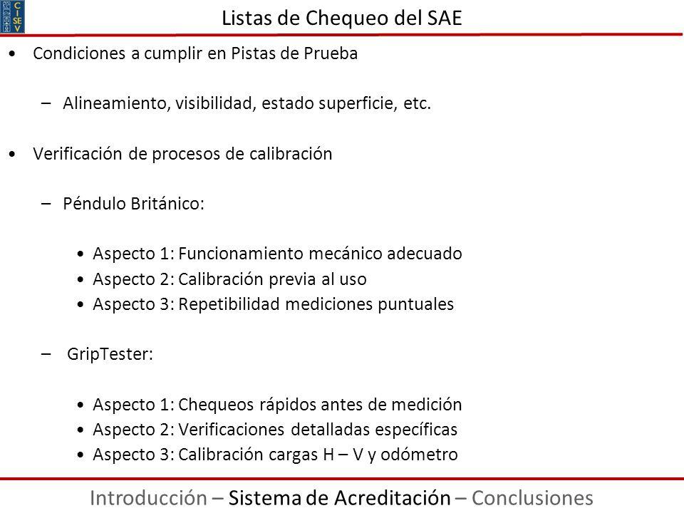 Listas de Chequeo del SAE