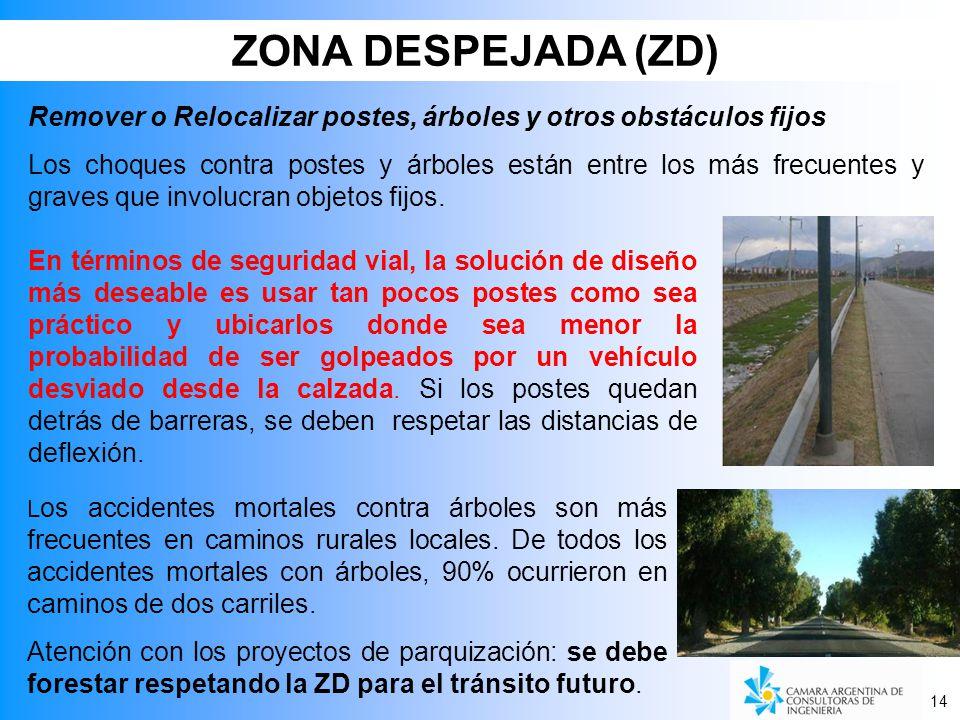 ZONA DESPEJADA (ZD) Remover o Relocalizar postes, árboles y otros obstáculos fijos.