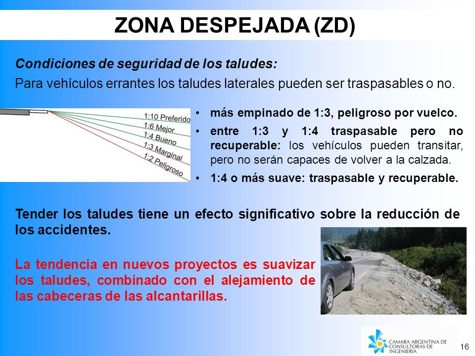 ZONA DESPEJADA (ZD) Condiciones de seguridad de los taludes: