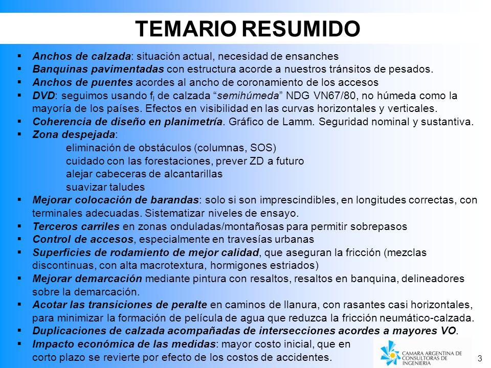 TEMARIO RESUMIDO Anchos de calzada: situación actual, necesidad de ensanches.