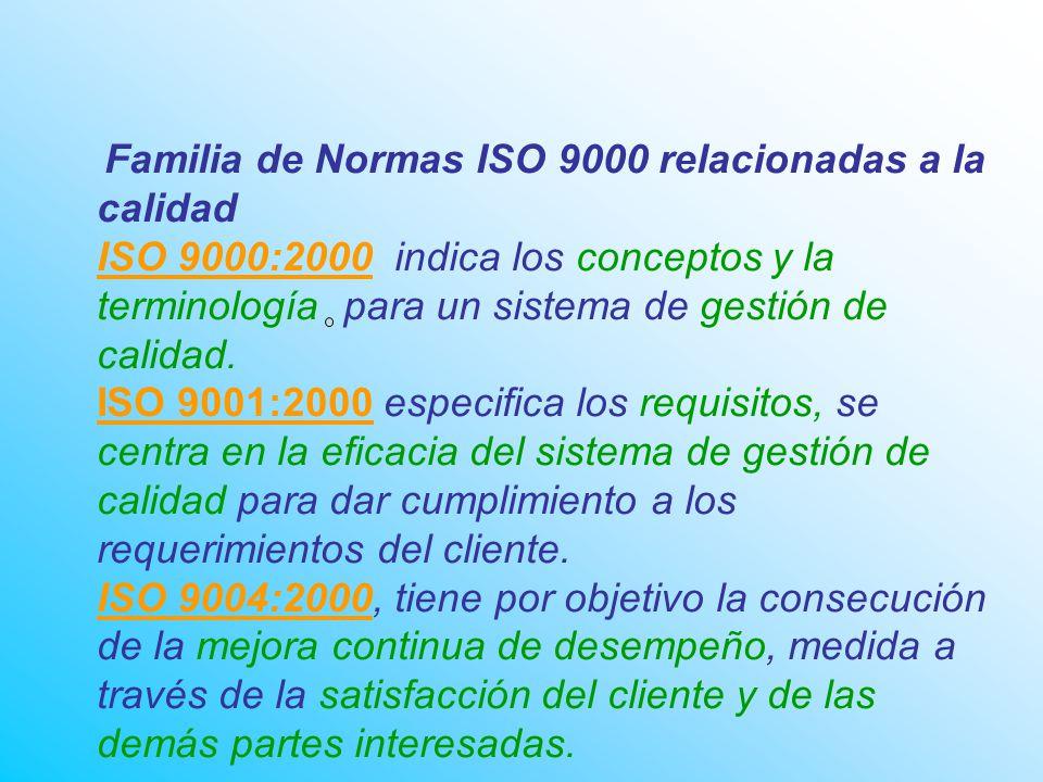 Familia de Normas ISO 9000 relacionadas a la calidad