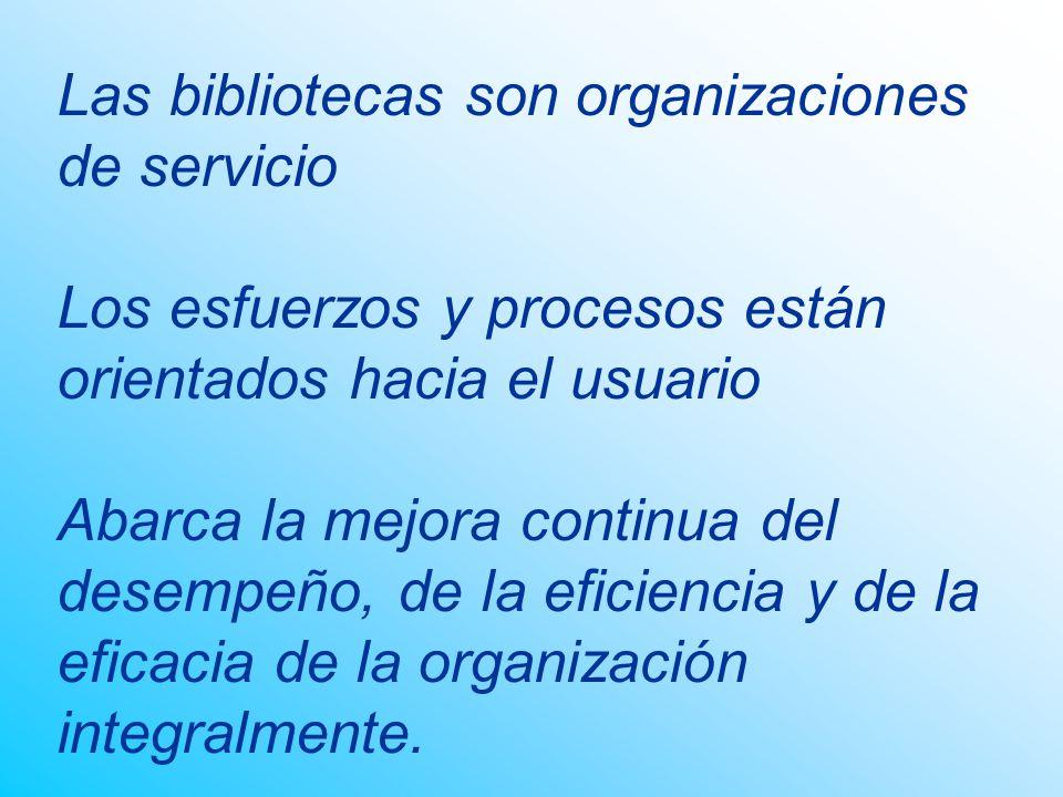 Las bibliotecas son organizaciones de servicio Los esfuerzos y procesos están orientados hacia el usuario Abarca la mejora continua del desempeño, de la eficiencia y de la eficacia de la organización integralmente.