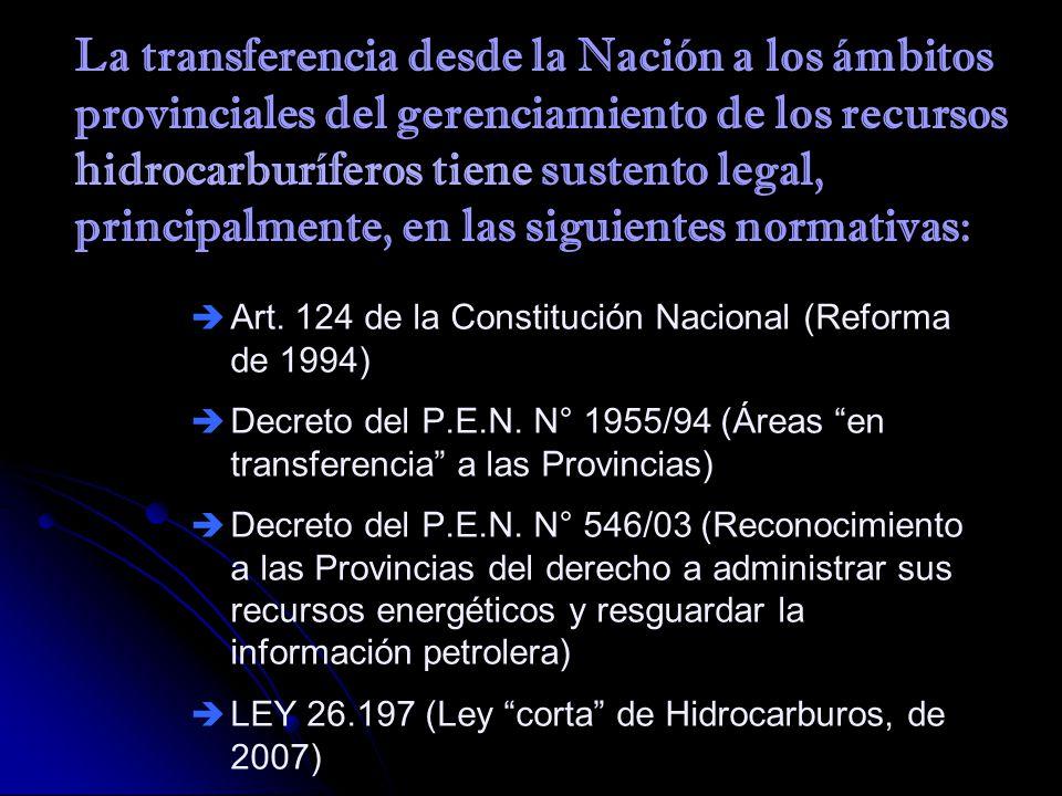 La transferencia desde la Nación a los ámbitos provinciales del gerenciamiento de los recursos hidrocarburíferos tiene sustento legal, principalmente, en las siguientes normativas: