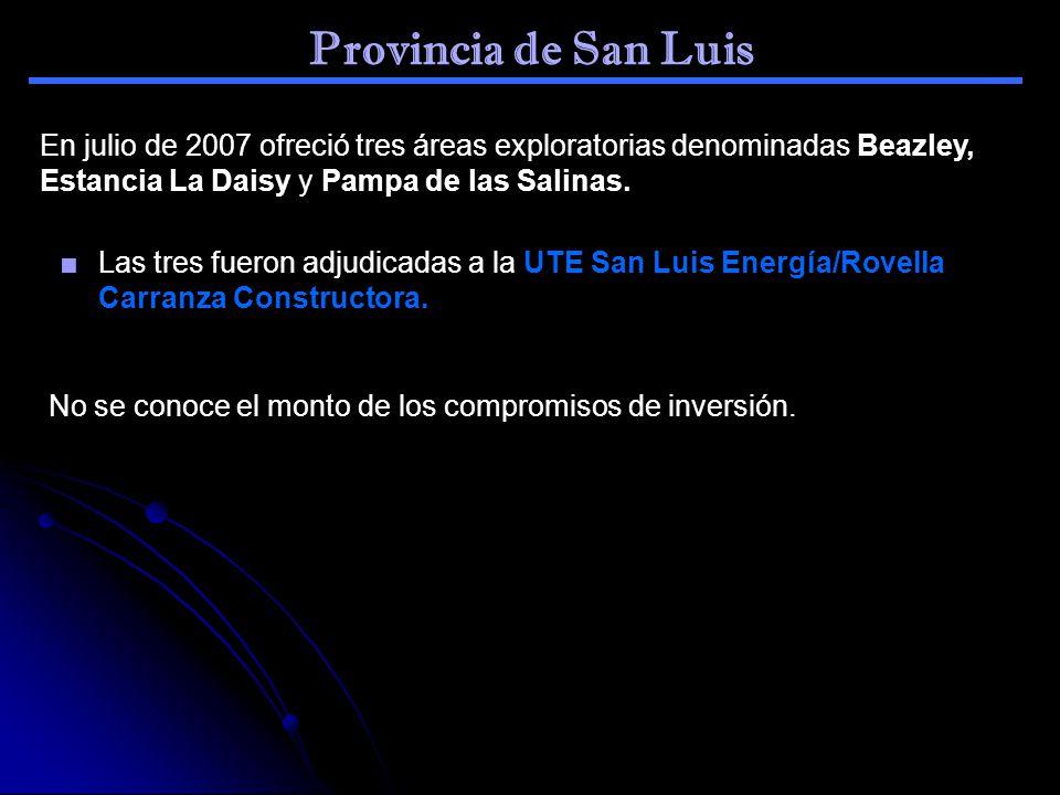 Provincia de San Luis En julio de 2007 ofreció tres áreas exploratorias denominadas Beazley, Estancia La Daisy y Pampa de las Salinas.