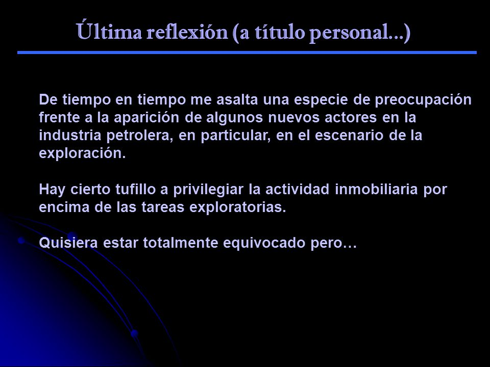 Última reflexión (a título personal...)