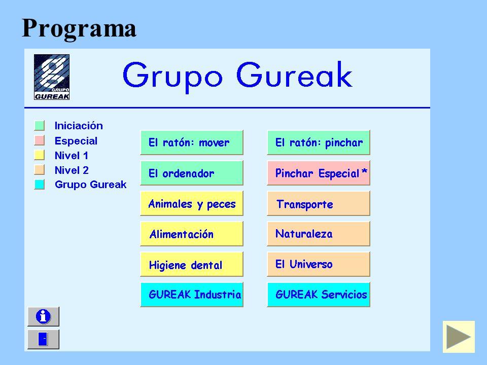 Programa Nuestro CD-ROM en 4 niveles que engloban diversas unidades temáticas. Las actividades van secuencialmente de menor a mayor dificultad.